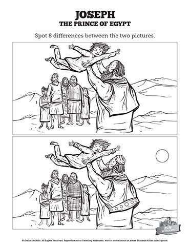 The Story Of Joseph The Prince Of Egypt Kids Spot The Difference Can Your Kids Find Every Change Sunday School Lessons Sunday School Bible Activities For Kids