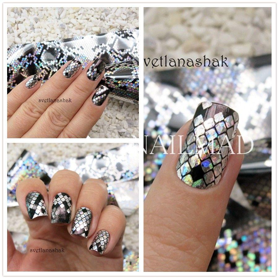1 roll 4*100CM Holographic Nail Foils Snake Skin Foils Nail Art ...