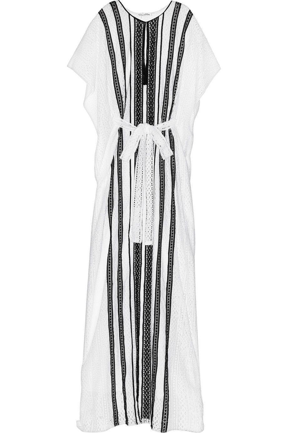 Oscar de la Renta Striped crocheted cotton kaftan