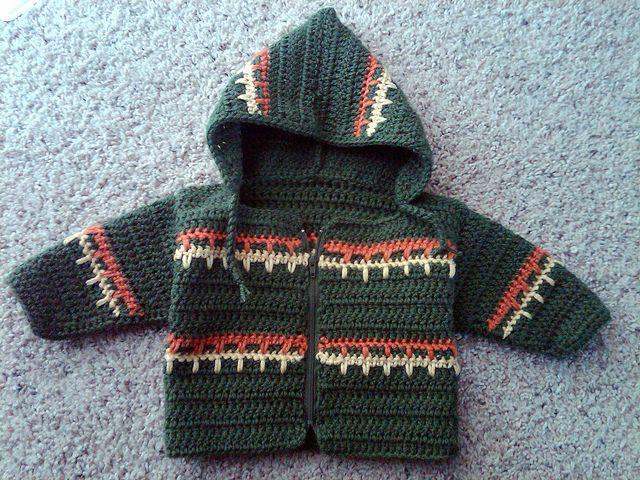 Free crochet pattern Jacket, sweater, hoodie Baby toddler child  Green crochet hoodie front - hilljo by HiLL.jO, via Flickr