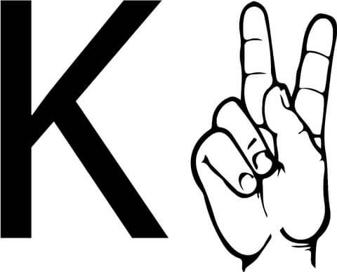 Asl Sign Language Letter K Coloring Page From Asl Alphabet