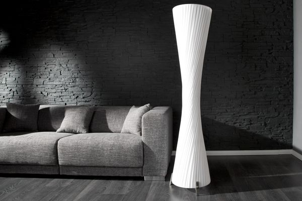Moderne Design Stehlampe HELIX L weiss 160cm bei Riess Ambiente