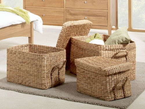 Set Of 3 Extra Large Wicker Storage Boxes Storage Baskets With Lids And  Handles | EBay