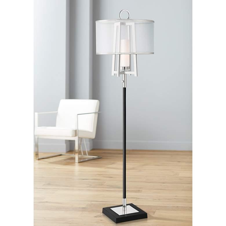 Possini Euro Monterey Floor Lamp With Organza Shade 72w32