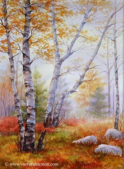 Autumn Morning Original Seascape Watercolor Painting By Varvara