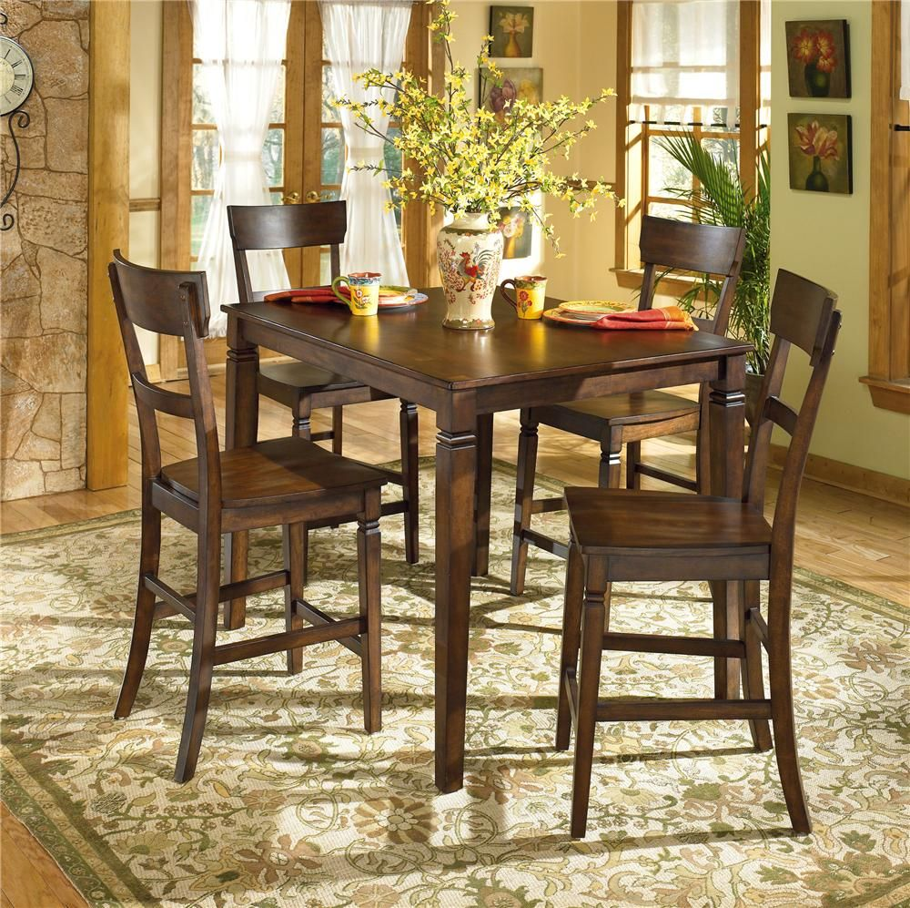 Barrister Table With 4 Bar Stools By Ashley Furniture