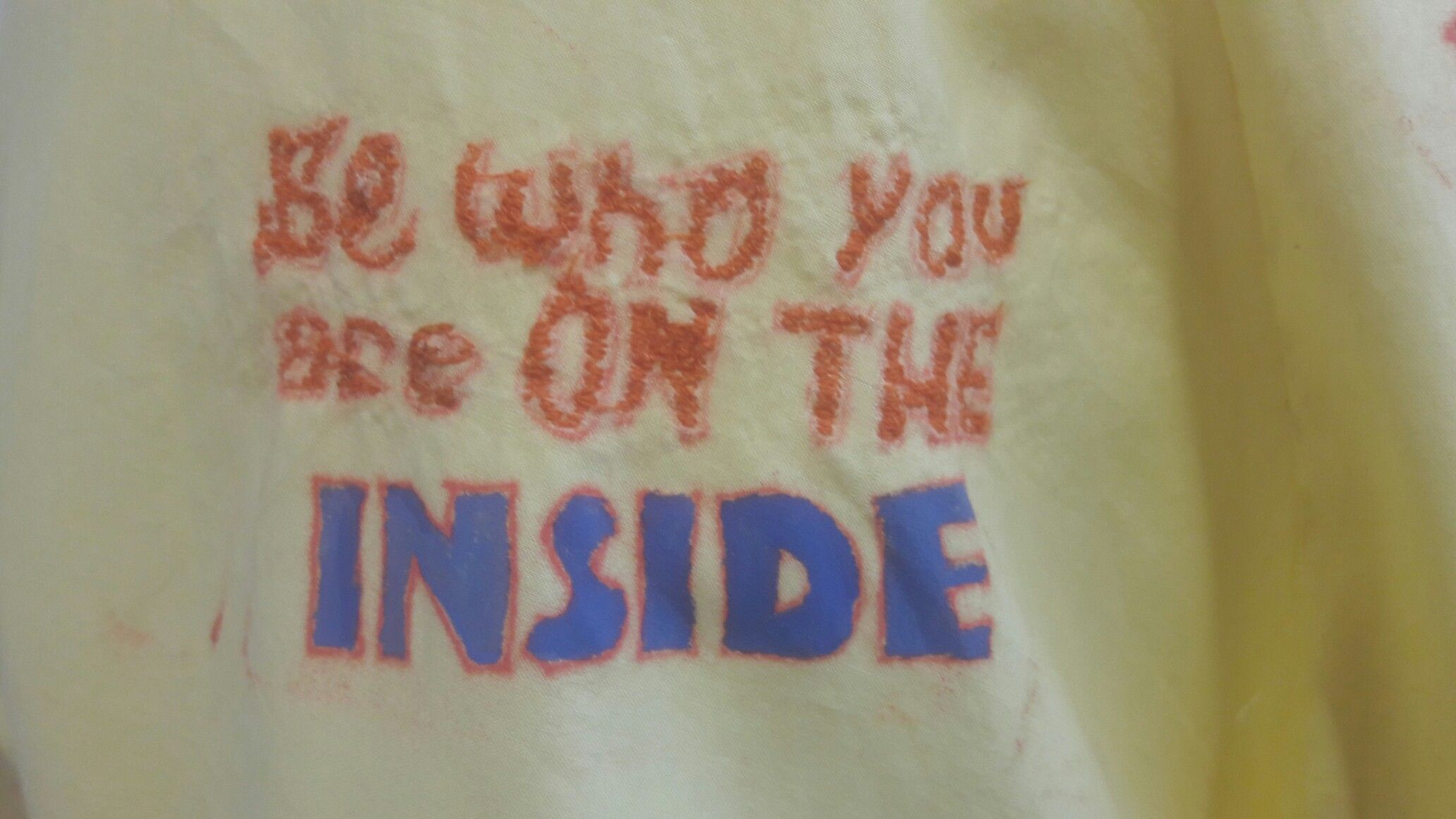 Be who you are on the inside quotes typography/ Monoprint/ free- hand stitching part of a quoted dress