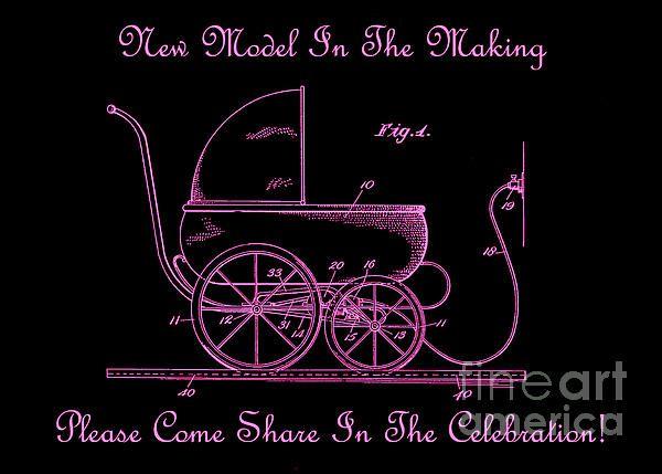 1924 Patent Art Koch Baby Carriage Black Pink - Lesa Fine #carriage #baby #invitation #showerinvitation #announcement #newborn #invite #youreinvited