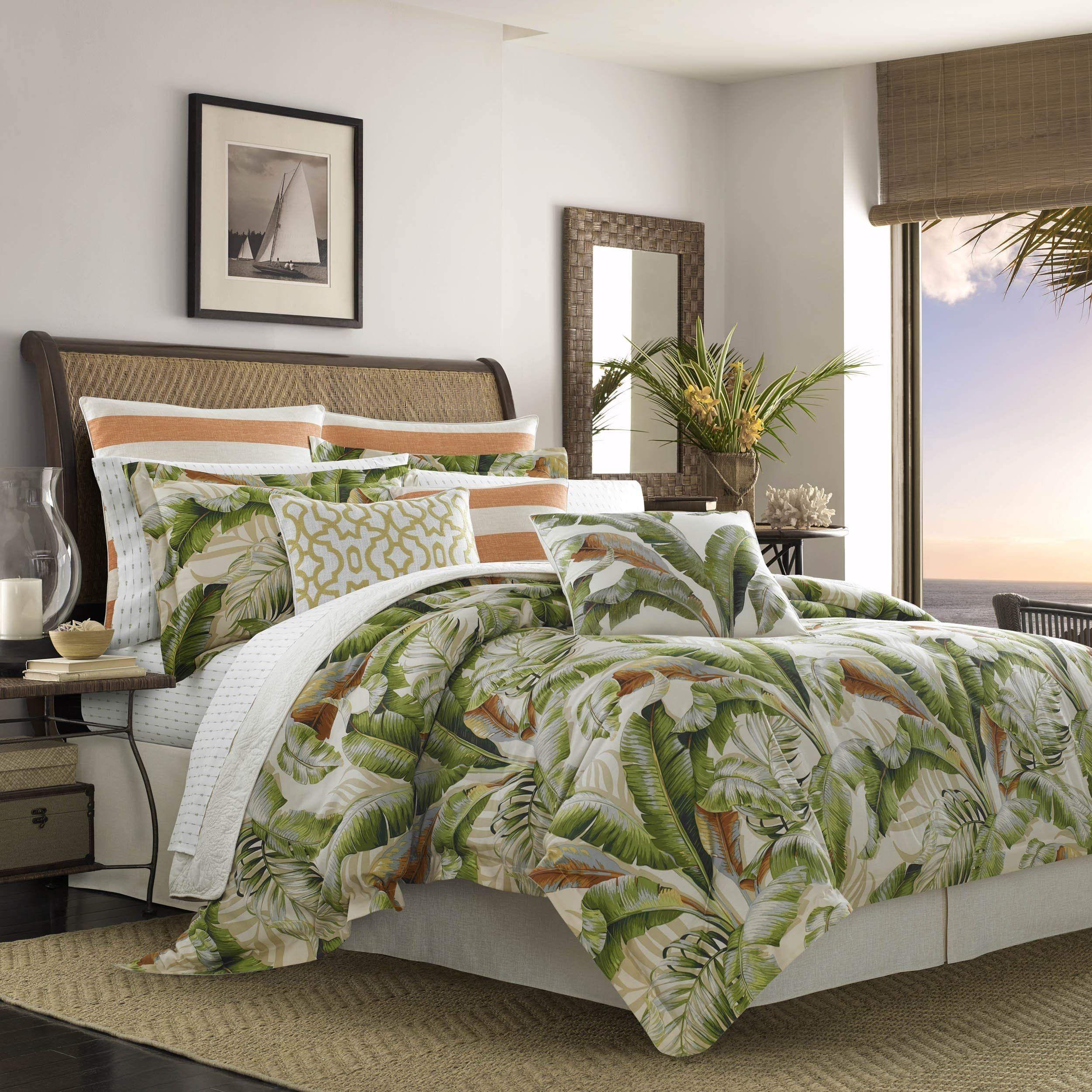 Tommy Bahama Palmiers Comforter Set California King Medium Green