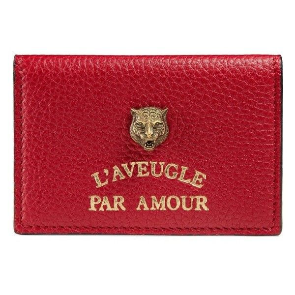 Women's Gucci L'Aveugle Par Amour Leather Card Case (975 SAR) ❤ liked on Polyvore featuring bags, wallets, hibiscus red, leather shopper handbags, gucci bags, leather wallets, leather shopper and shopping bag