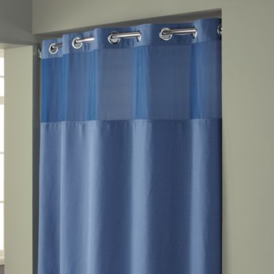 Hookless® Waffle Moonlight Blue 71-Inch W x 74-Inch L Fabric Shower Curtain and Liner Set - BedBathandBeyond.com  master bath