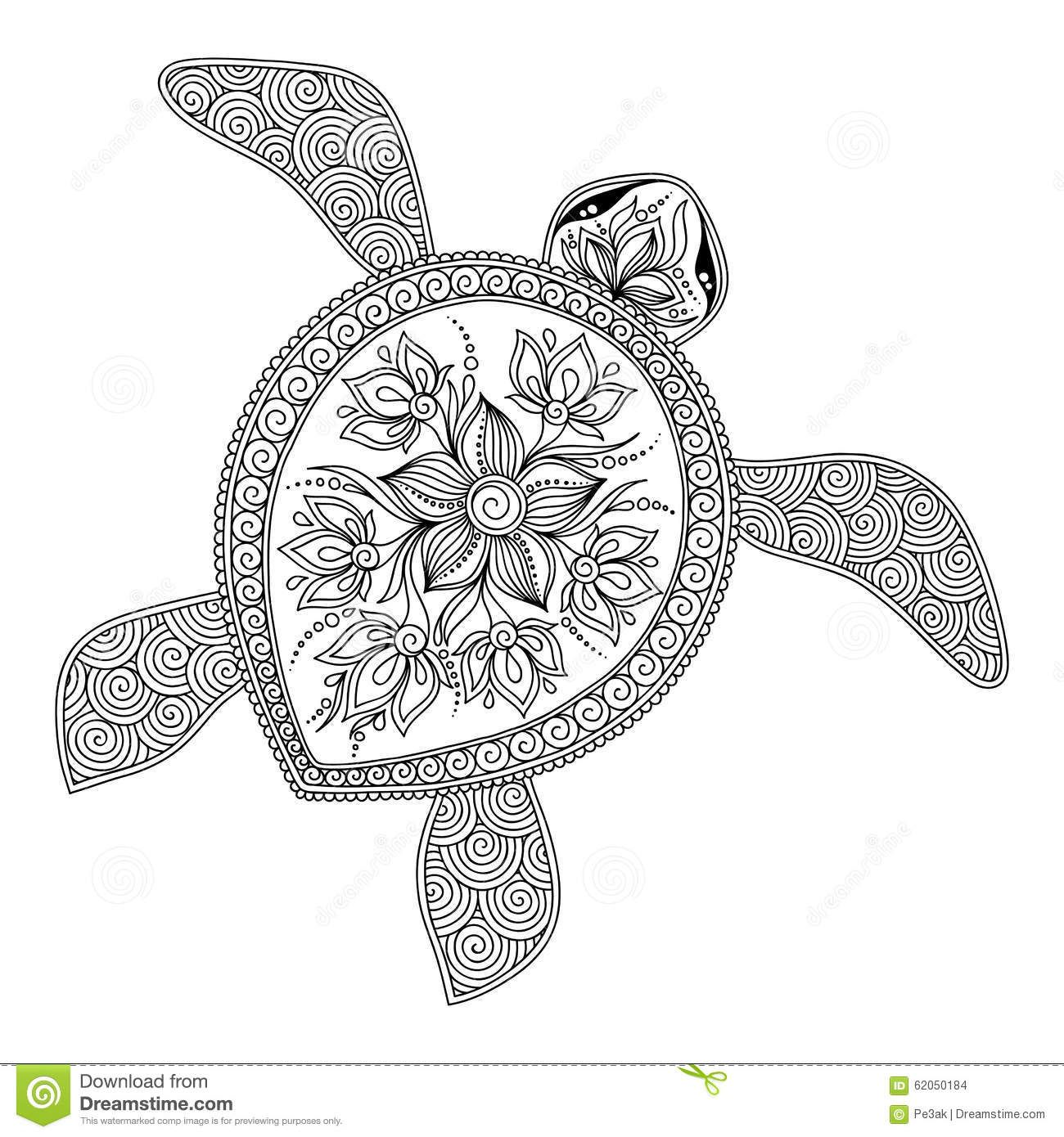 Pattern For Coloring Book. Decorative Graphic Turtle. Stock Vector ...