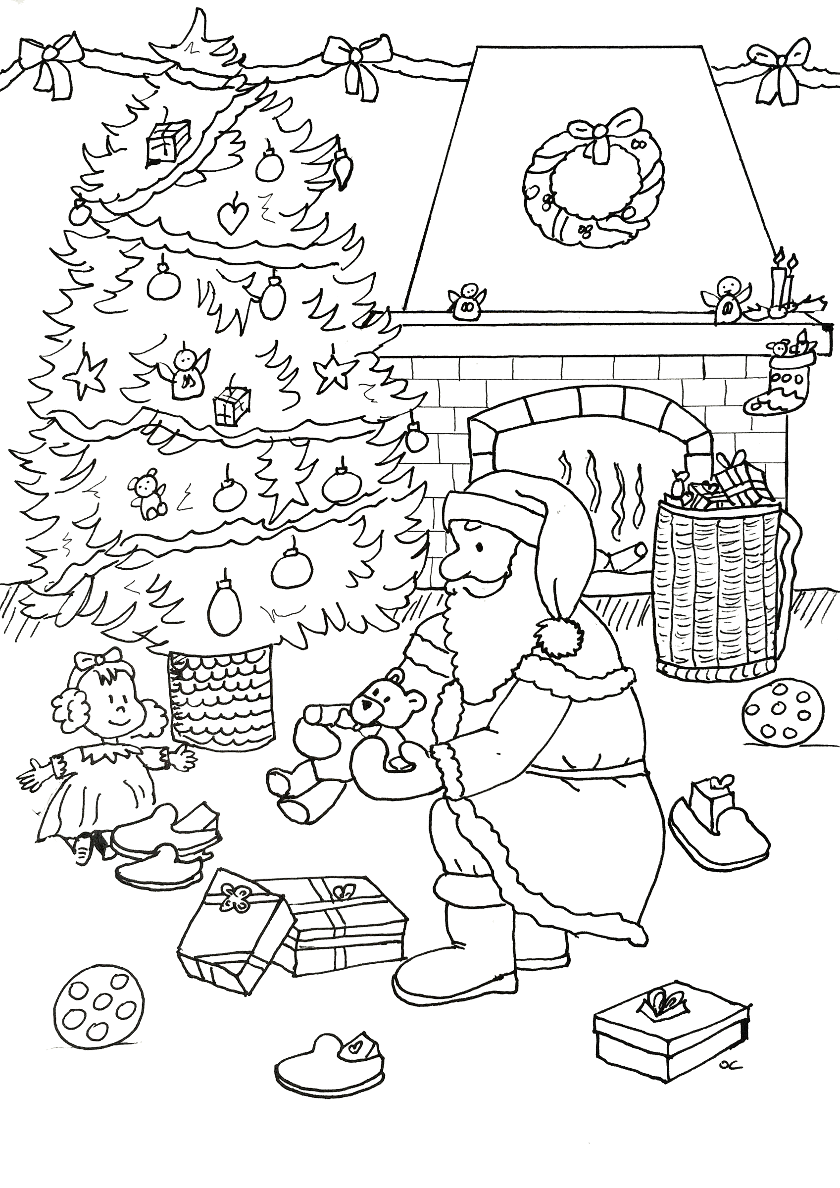 Santa Claus preparing gifts, Free Christmas coloring page for children, by Olivier