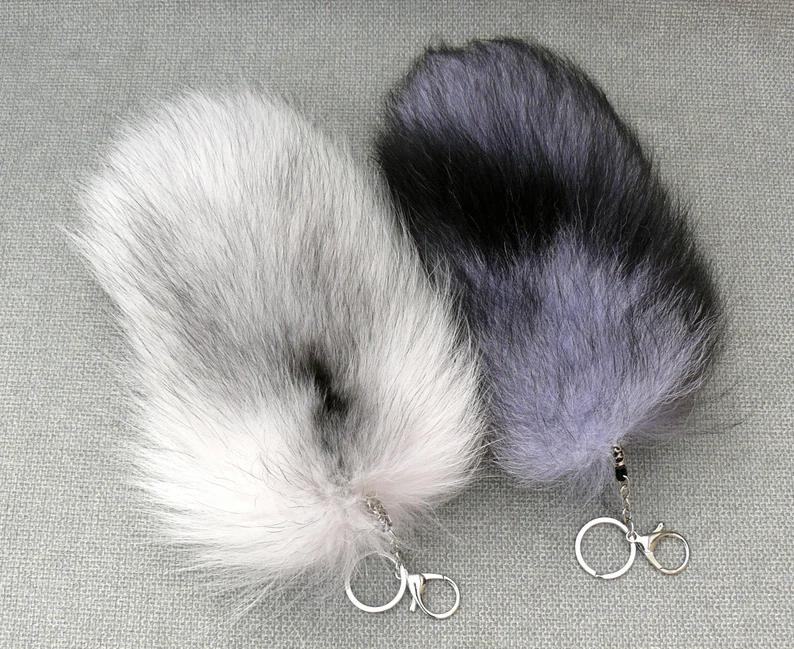 Silver Foxtail Keychain