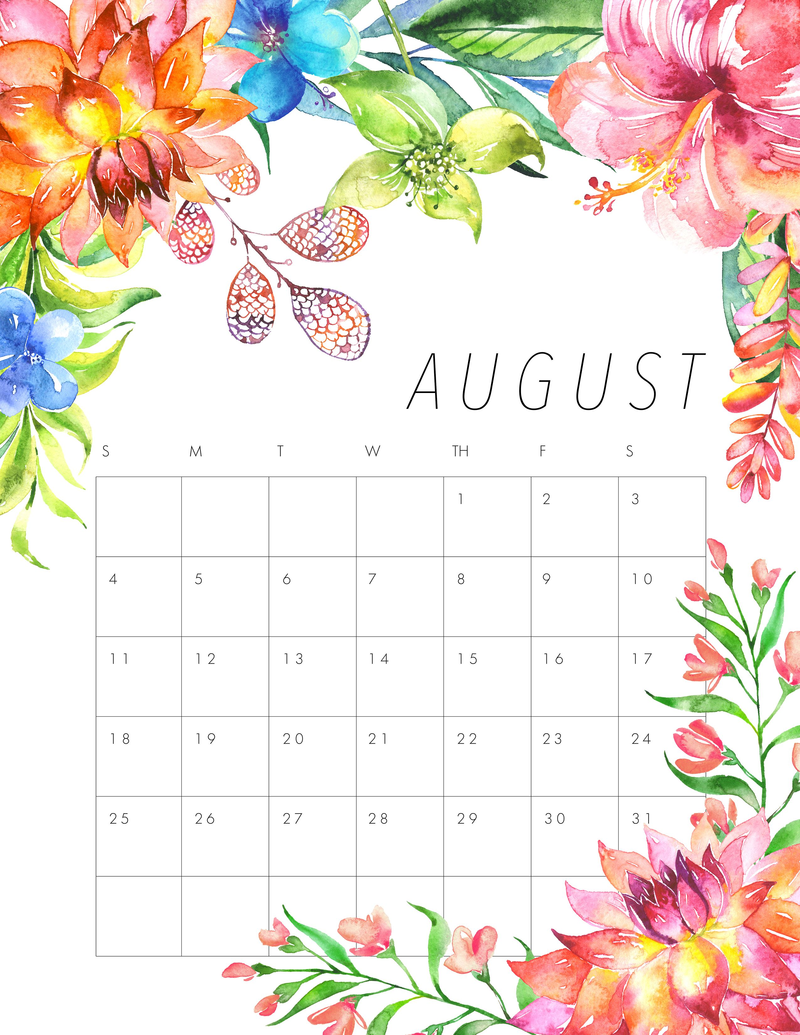 Cute August 2019 Calendar Free Printable Calendar 2017 Floral Calendar August Calendar