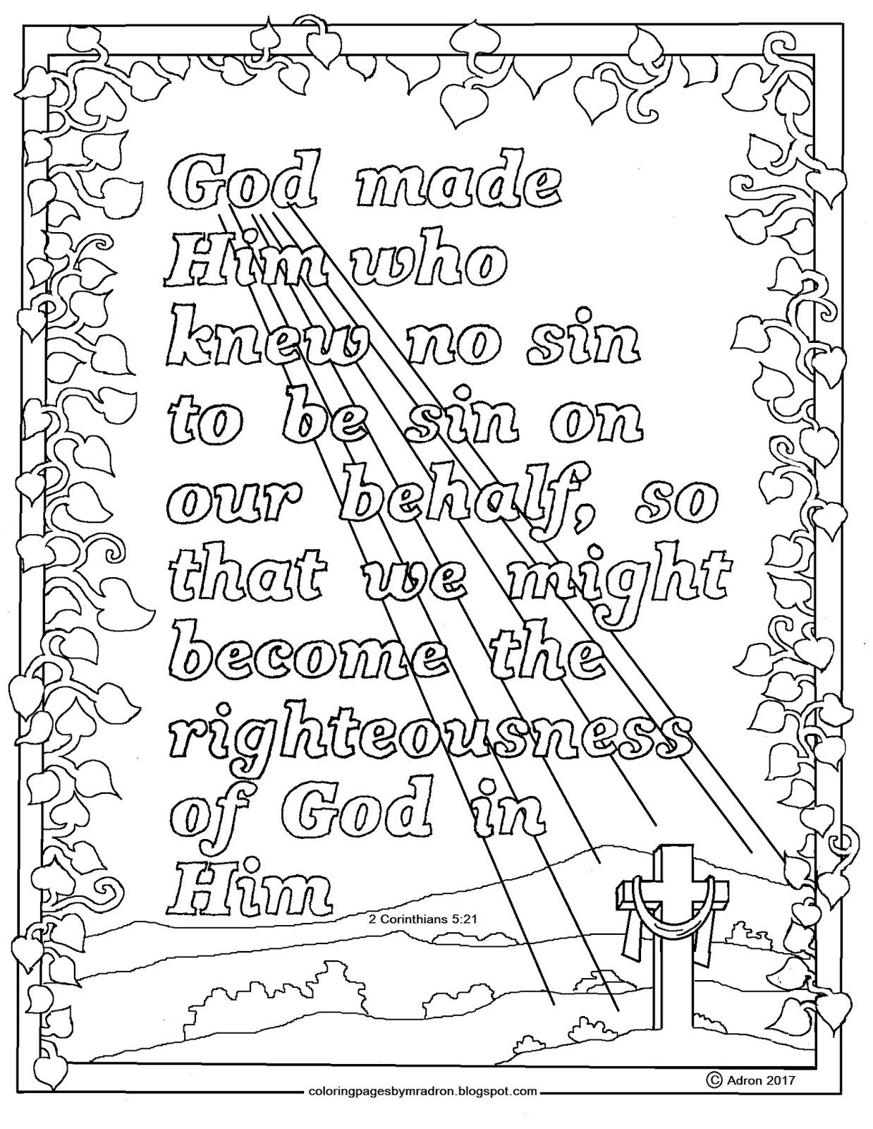 2 Corinthians 5:21 Printable Coloring Page. This is a