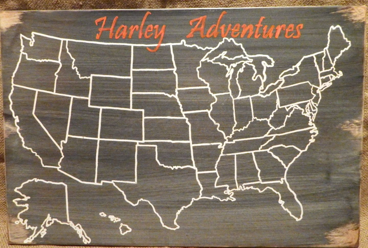 travel map harley motorcycle us wood map usa travel map
