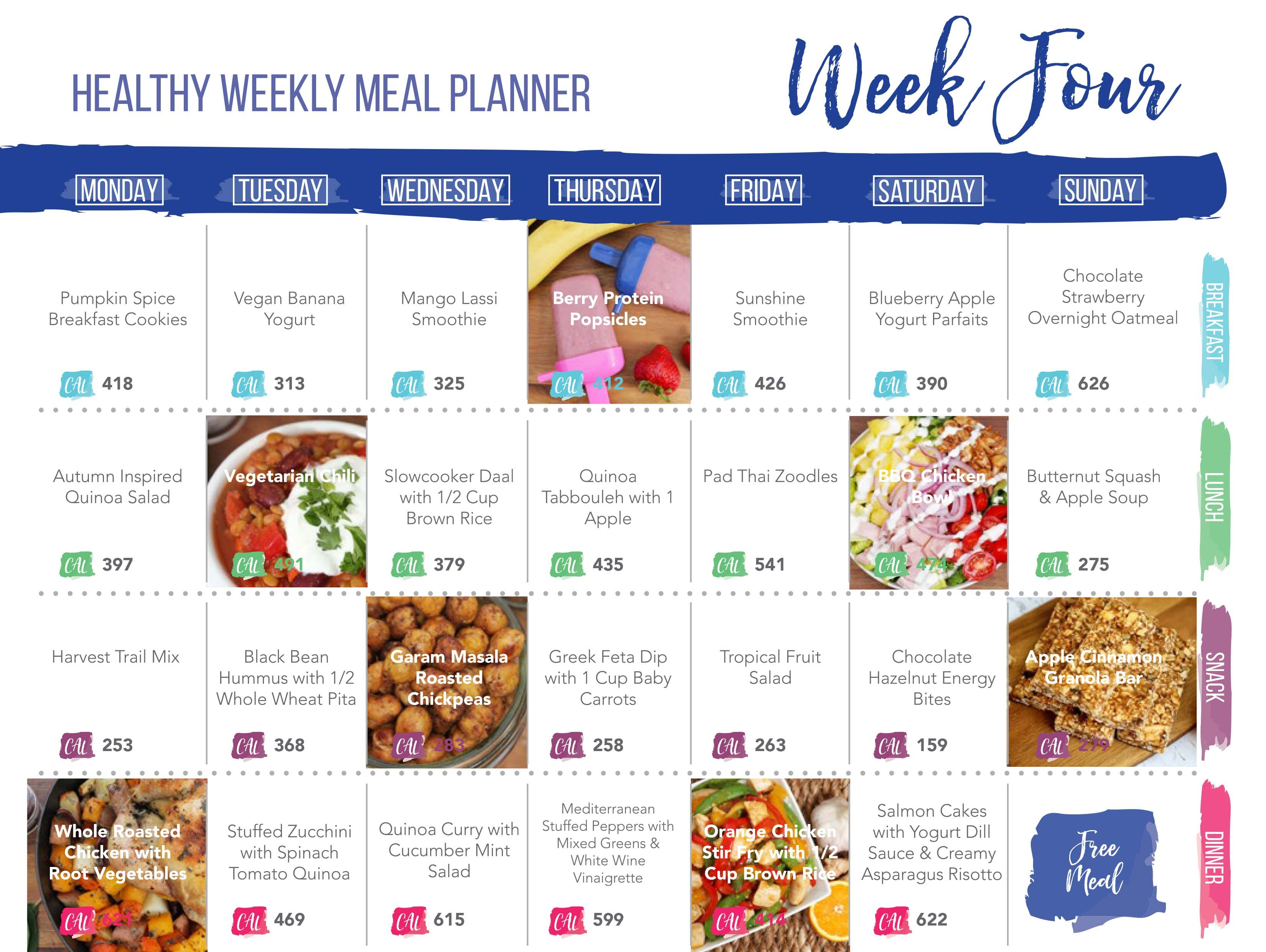 Healthy Meal Plan Week Four Week FourS Menu Includes My