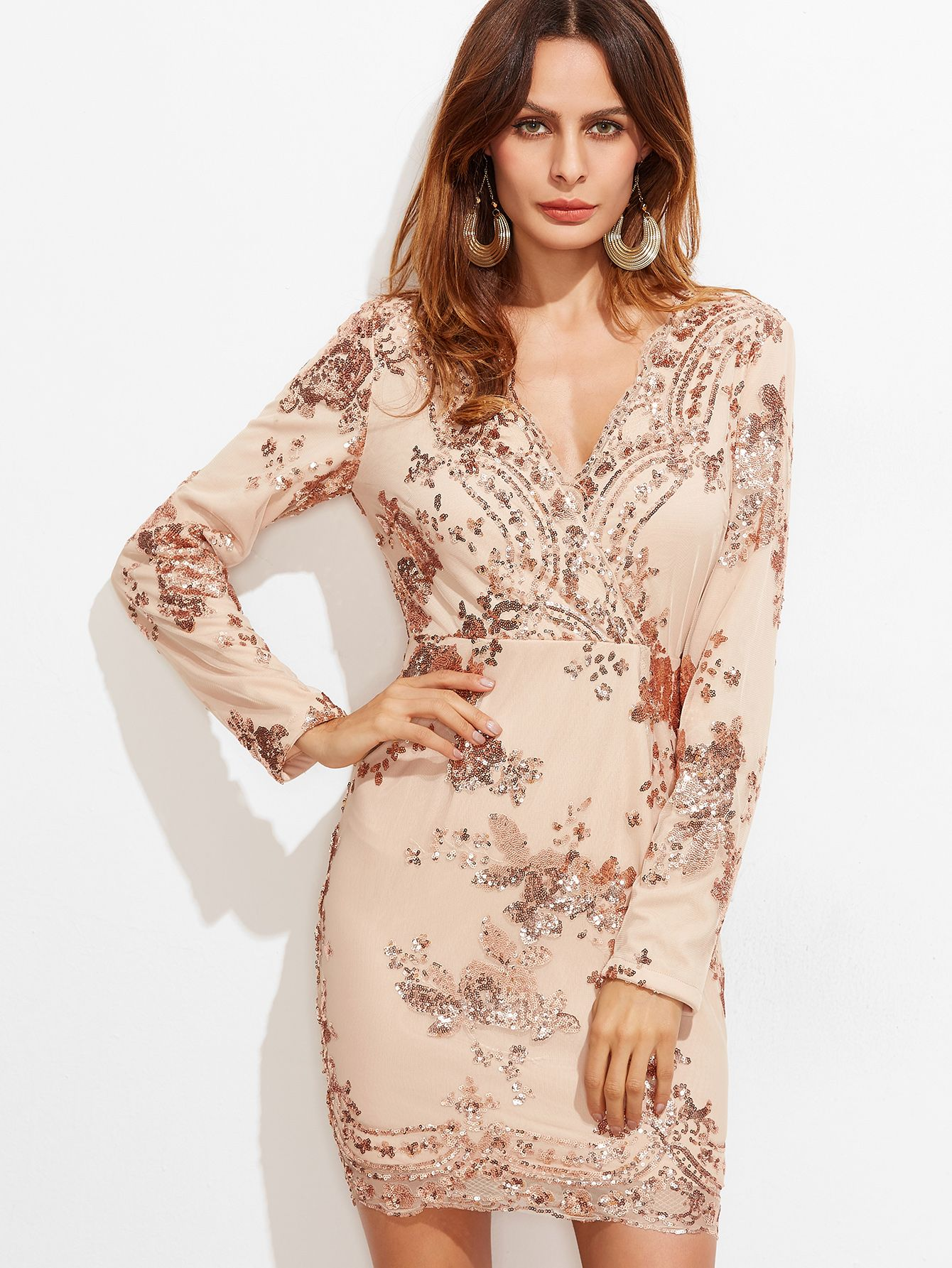 Pink Surplice Front Embroidered Sequin Dress | Sequins, Dress ...