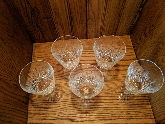 Waterford Lismore Wine Gles 7 Tall Set Of 5 Stemmed