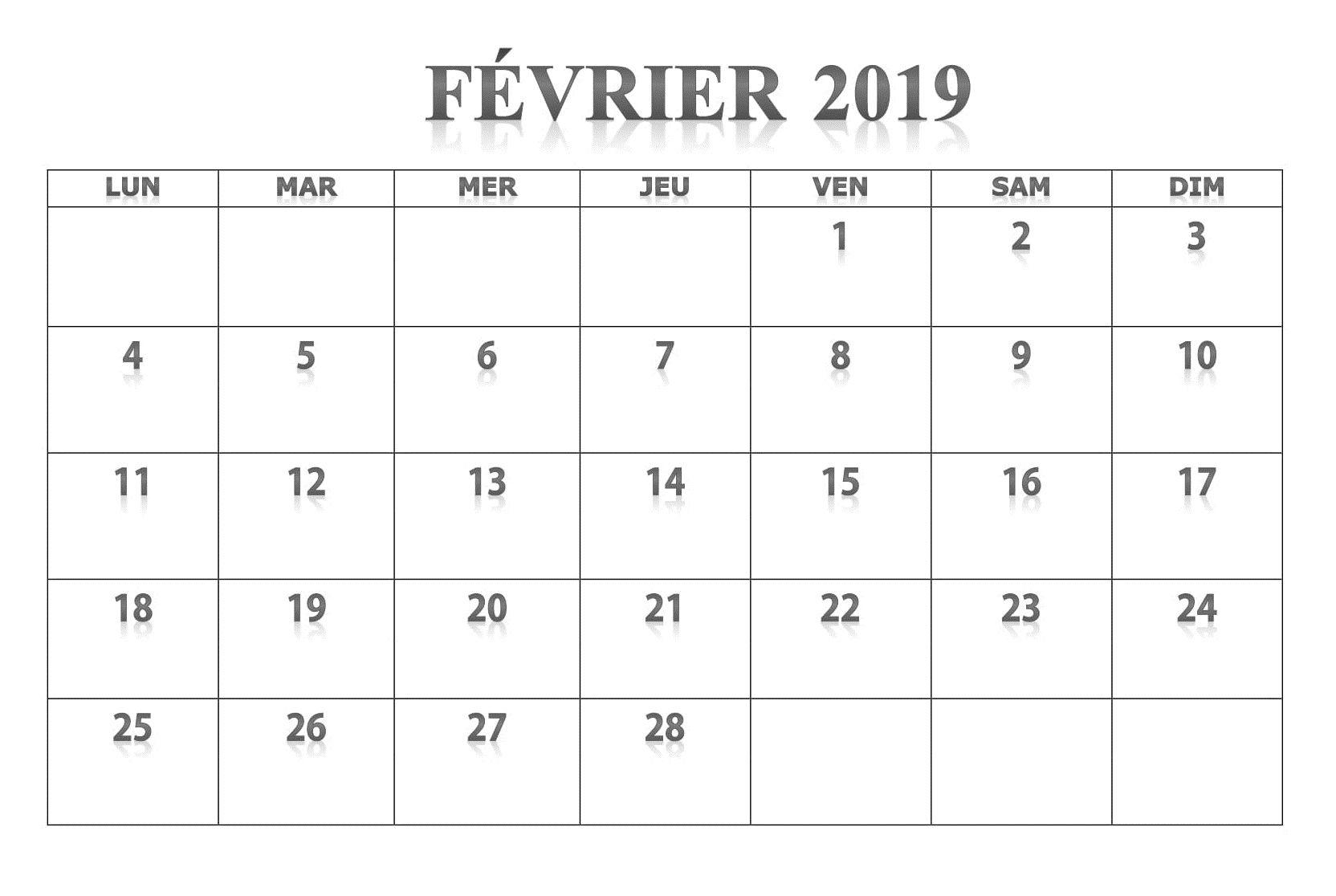 Page Calendrier.Fevrier Calendrier 2019 Fevrier Calendrier 2019