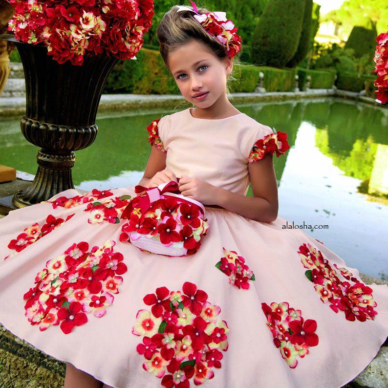9b2918e4248 ALALOSHA  VOGUE ENFANTS  NEW SEASON  3D Floral Spring Dress by Lesy Luxury  Flower