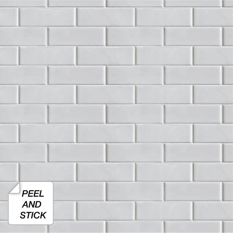 Peel And Stick Self Adhesive Wallpaper Wallpaper Subway Etsy Stick On Tiles Peel And Stick Tile Peel And Stick Wallpaper