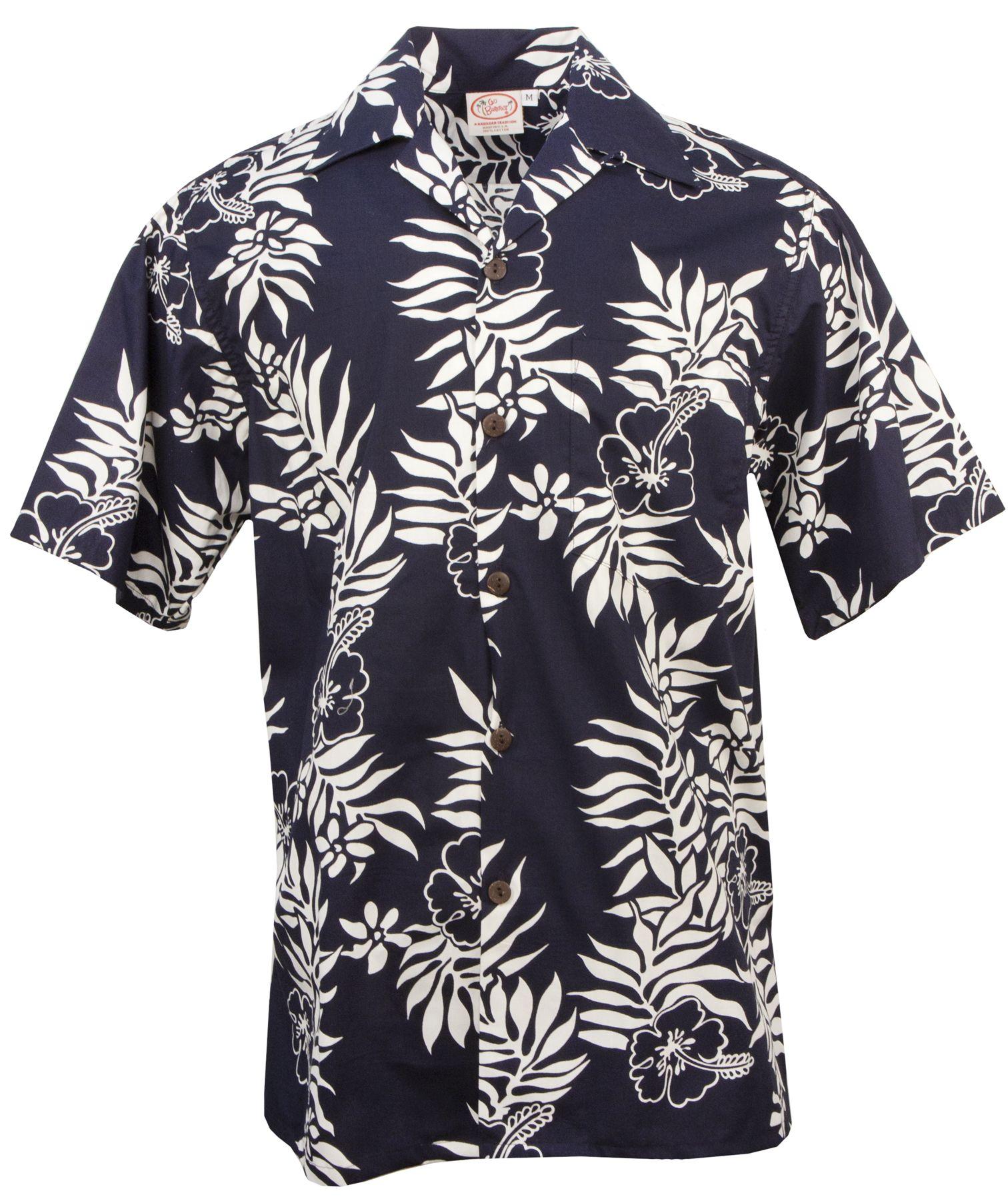57e879652 Go Barefoot Mini Tahitian Mens Hawaiian Aloha Shirt in Navy & White ...