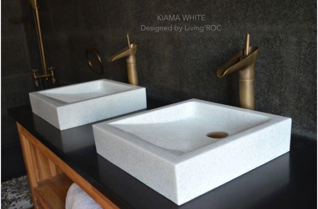16x16 Crystal White Marble Bathroom Vessel Sink Kiama