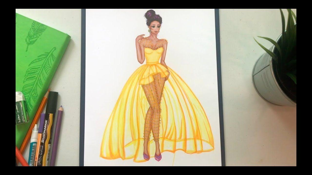 رسم فستان أصفر Draw A Yellow Dress