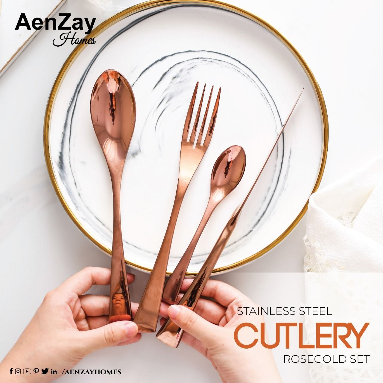 Rosegold Cutlery Set   Home decor online shopping, Home ...