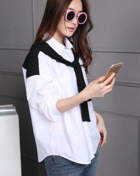CT09247 Pure cotton Casual shirt white bottoming shirt for women
