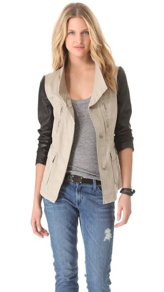 DKNY Cargo Jacket with Leather Sleeves