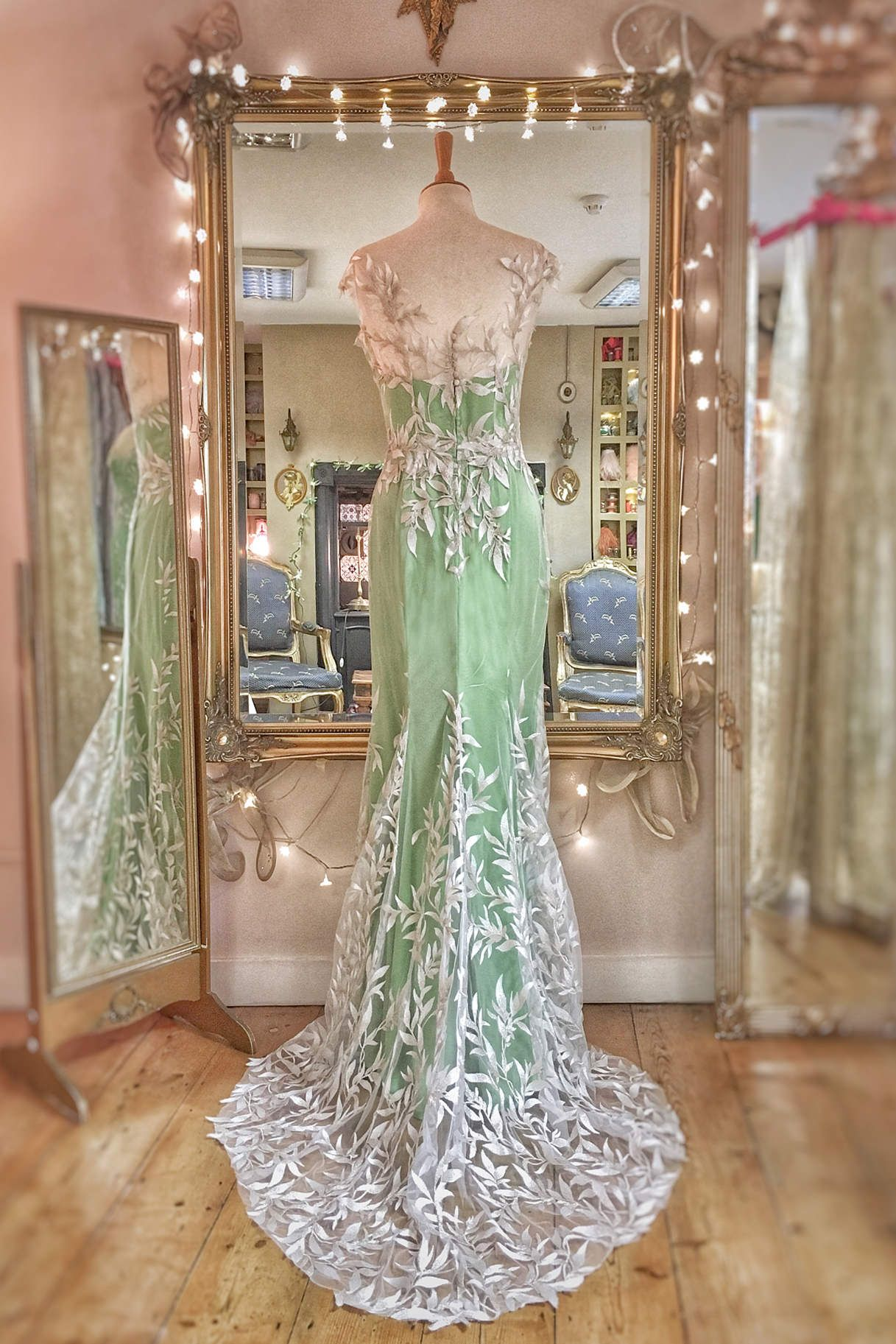 ca1361695b7 ivory and silver embroidered leaves green silk wedding dress by Joanne  Fleming Design
