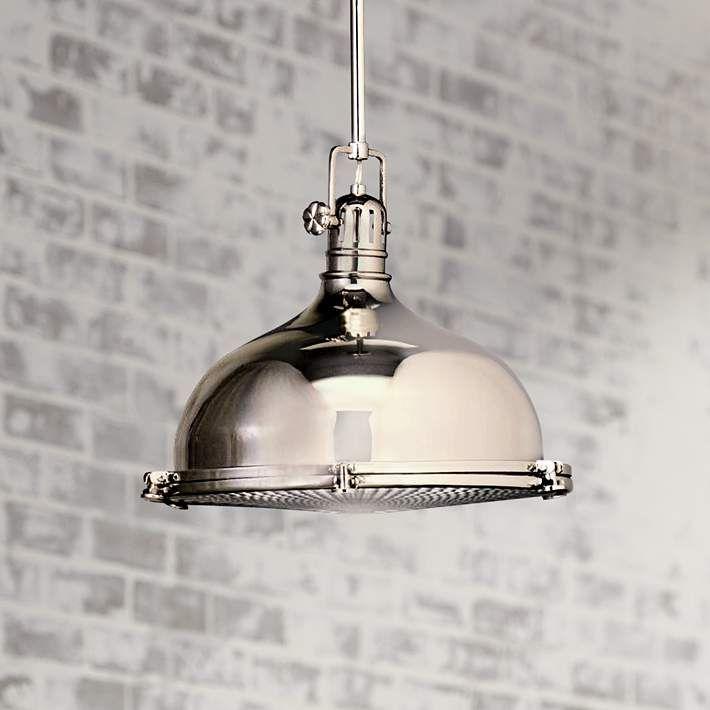 Len Industriestil kichler nickel with fresnel lens 13 1 2 wide pendant light style