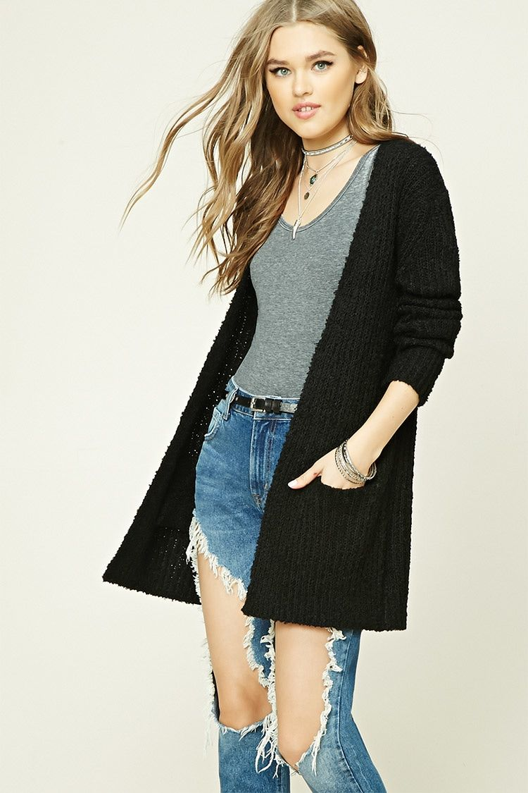 7e46191dcf Forever 21 Longline Loop Knit Cardigan  25 - A loop knit cardigan featuring  a ribbed design