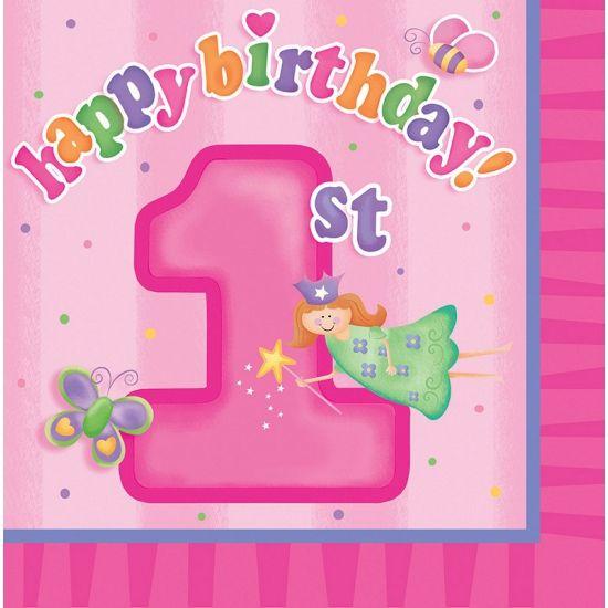 Roze Verjaardag Servetten 1 Jaar Deze Roze Papieren Servetten 1