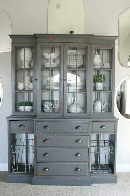 my inspiration for my trash picked china cabinet. black outside ...
