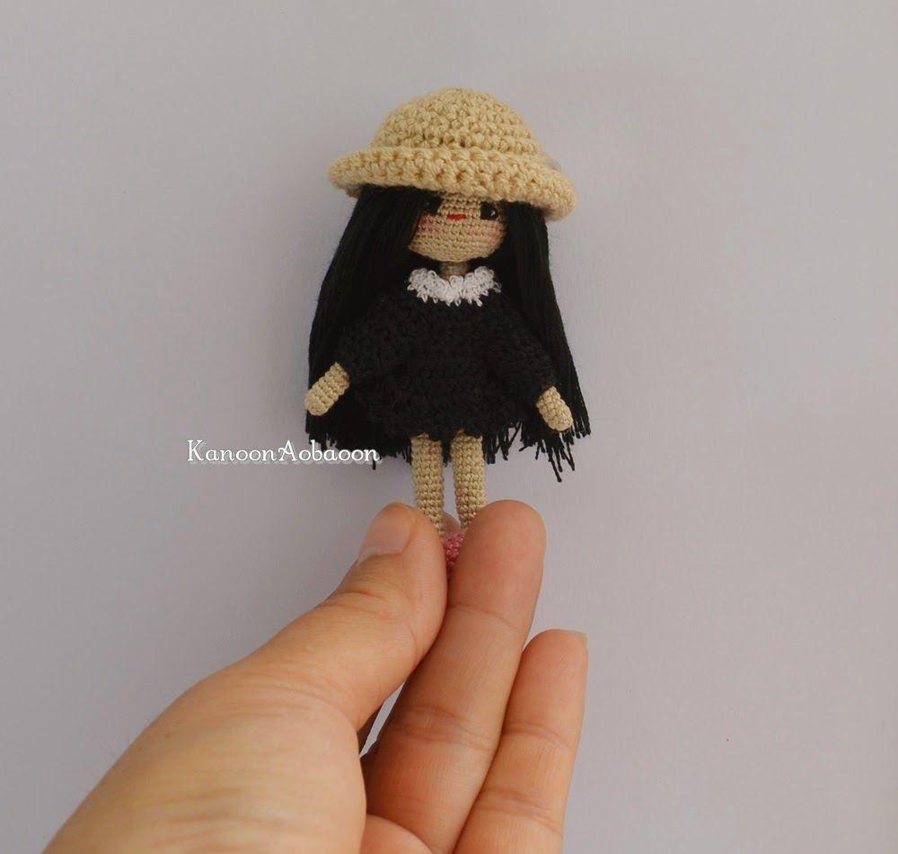 amigurumi crochet doll: Miniature crochet girl doll - in black dress - (7 cm.)