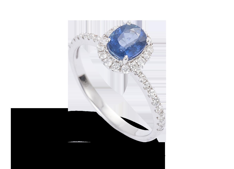 3a7c8f2e1bf Aliança de noivado com diamante e safira