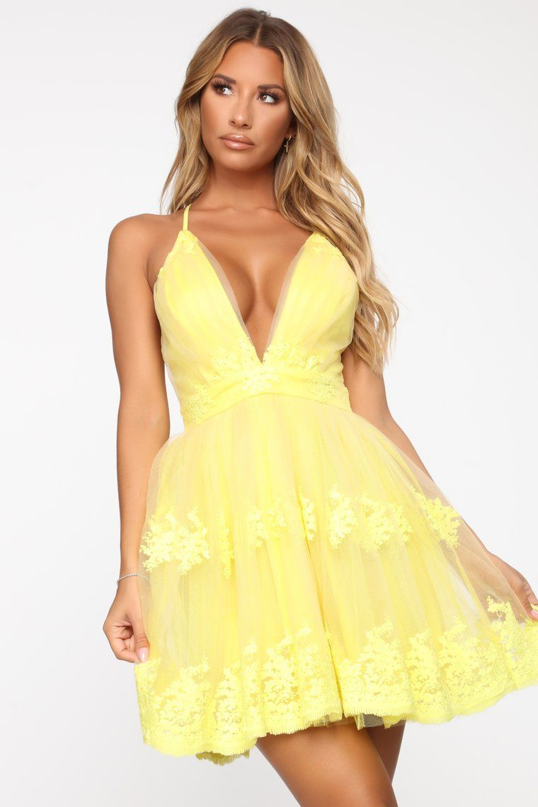 Flirty and Thriving Fit and Flare Dress Yellow in 2020