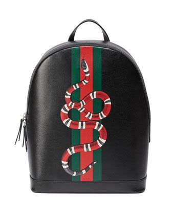 78ee99cb2 Web+&+Snake+Leather+Backpack,+Black+by+Gucci+at+Neiman+Marcus. | Boy ...