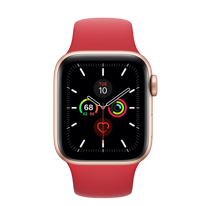 Apple Watch Series 5 Gps 40mm Gold Aluminum Case With Product Red Sport Band S M M L Apple Buy Apple Watch Apple Watch Apple Watch Space Grey