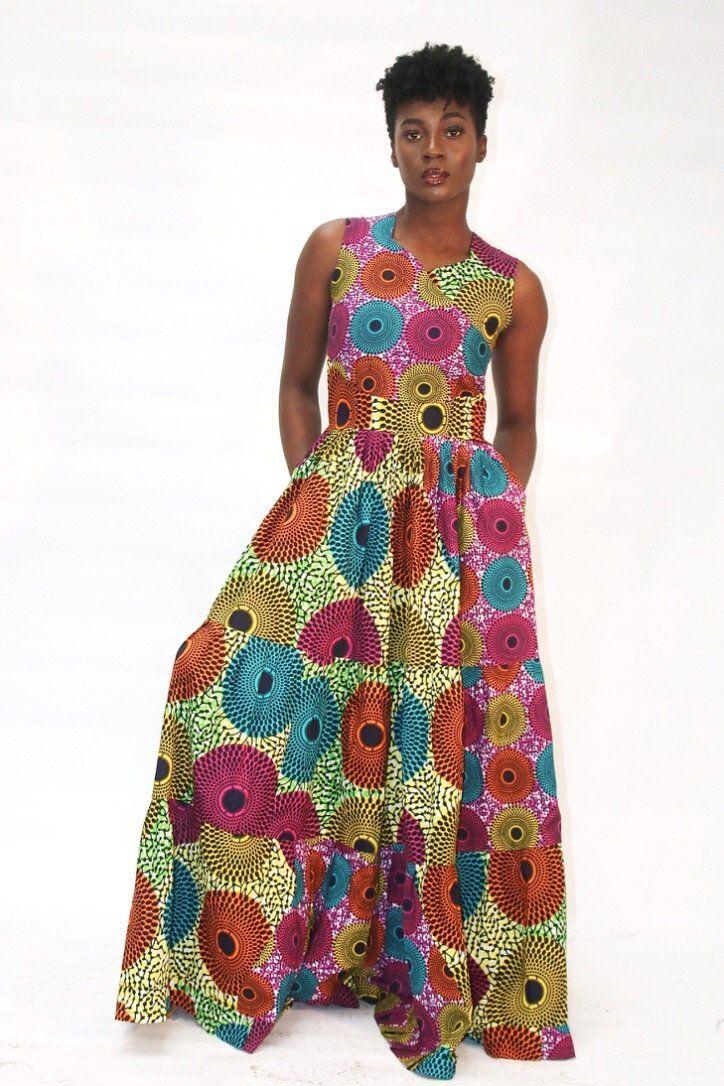 81e53eb1fb African Fashion Style · Vibrant multicoloured Ankara print maxi dress  custom made with 100% cotton Ankara fabric. Designed