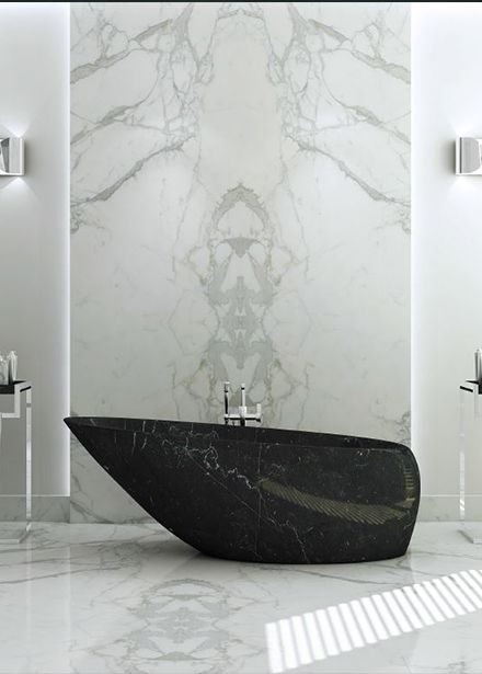 Baignoire Design En Marbre Effet Galet Ilot Moderne Salle De