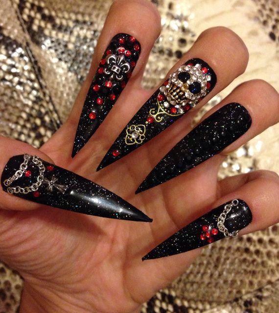 Dark Monarchy- Halloween-Cosplay nails- Gothic Punk Nail Art - Visual Kei 3D Acrylic Nail Art