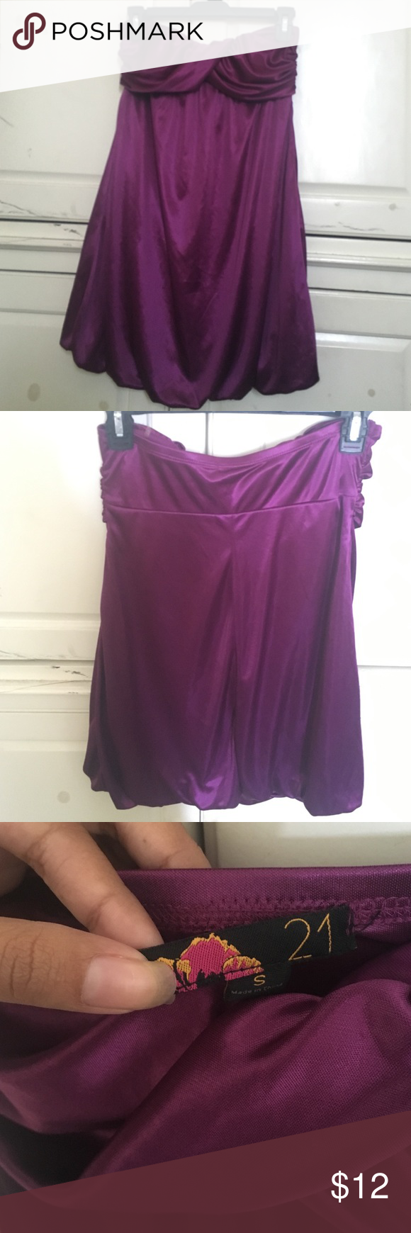 Vibrant Purple dress🌟 Such a pretty dress, you can wear it with heels, flats, or sandals and it will look great😊 worn but in great condition, only thing is the forever 21 tag is ripping off as shown in last photo. Feels like silk 😀, it's 100% polyester. Forever 21 Dresses Strapless