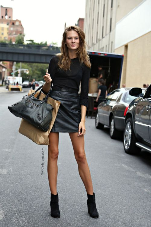 bfe09227f8 Irina Kulikova, New York, September 2012 Leather short skirt with black ankle  boots # street style GG's tiny times ♥