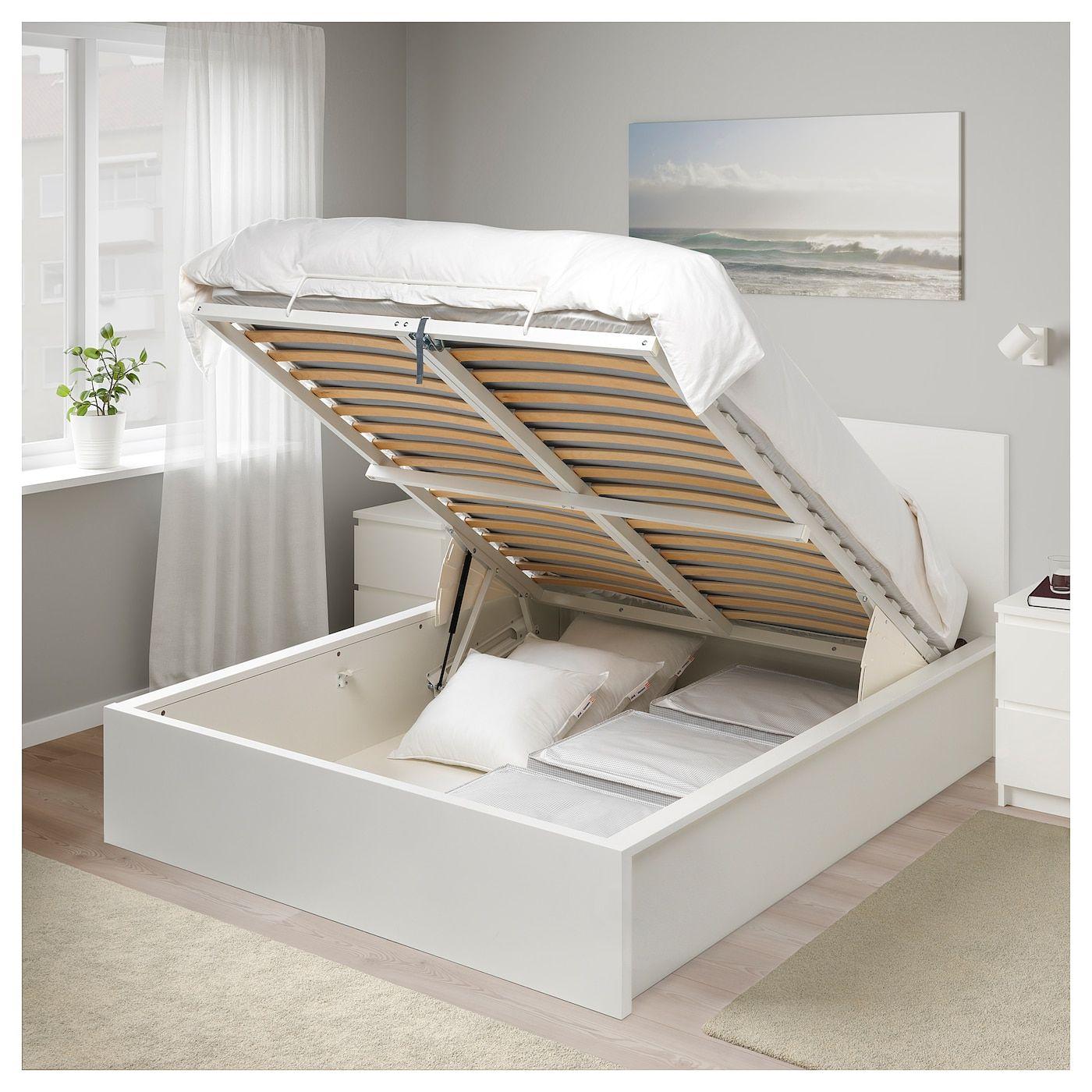 Malm Otoman Krevet Bijela 160x200 Cm Ikea Lit Coffre Lit Coffre Blanc Rangement Pour Petite Chambre