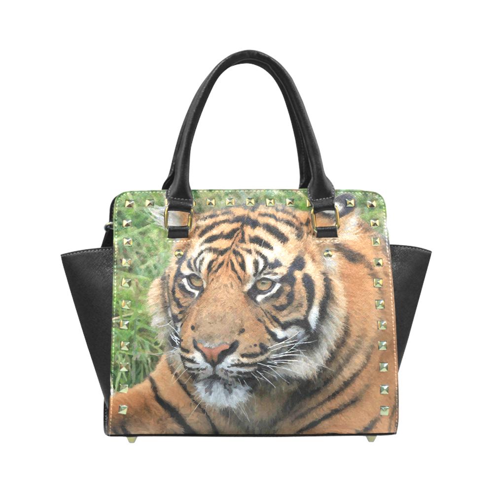 Beautiful Young Tiger Green Grass Detail Rivet Shoulder Handbag (Model 1645) 1dfba9a531420